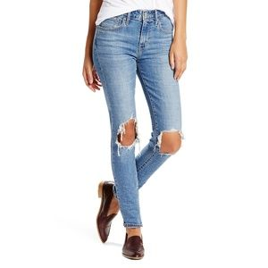 LEVIS 721 High Rise Skinny Jeans Ripped Knees 29